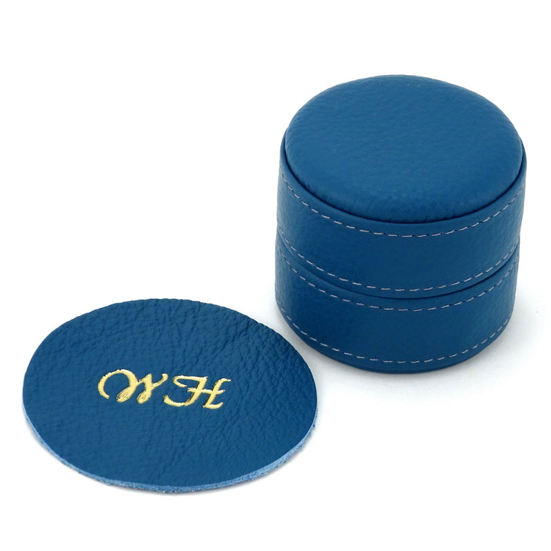 Ring Box round  Azure blue leather showing monograming