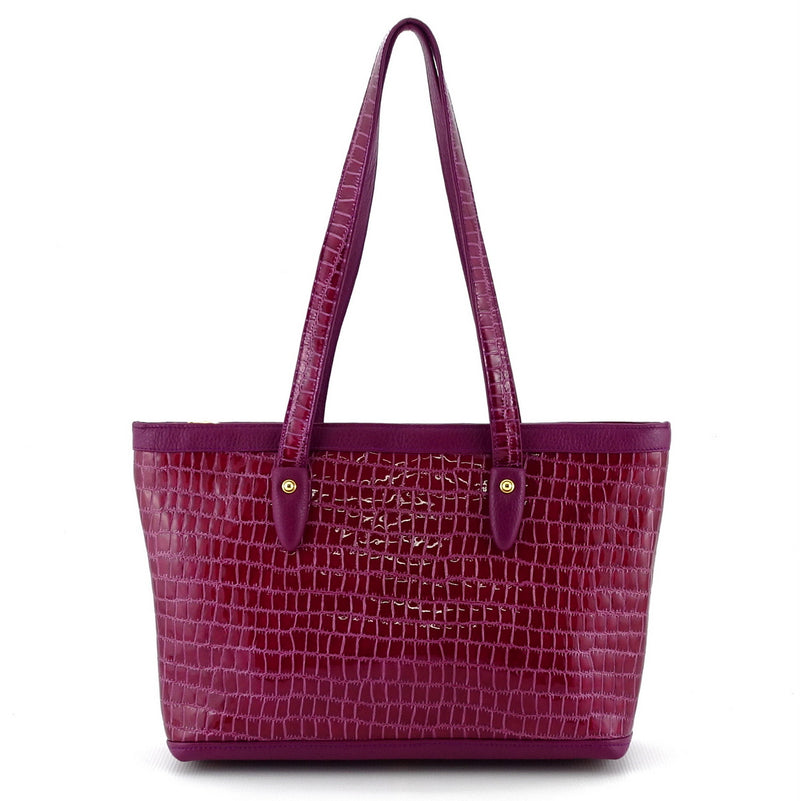 Emily  Medium leather tote bag purple & cherry gold fittings handles up