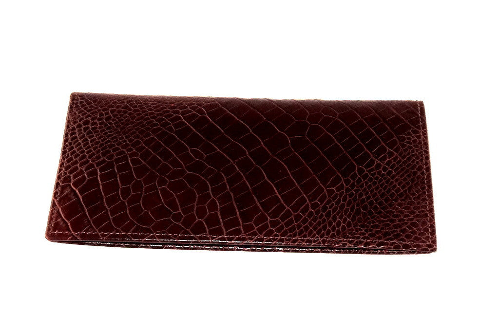 Front outside of suit wallet printed leather in burgundy brown colour