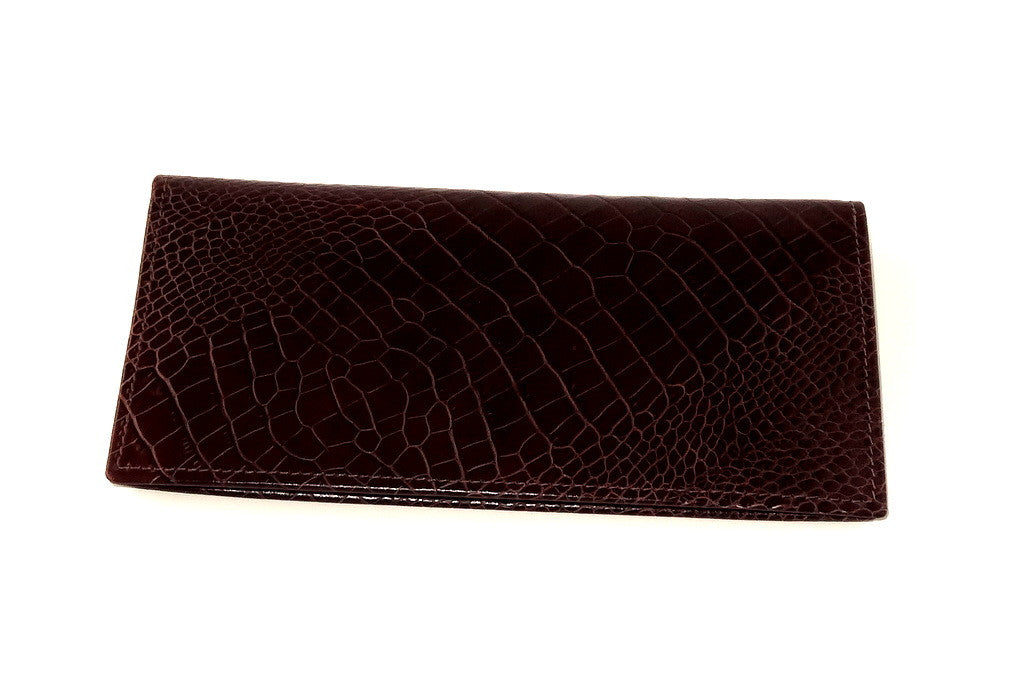Printed leather in burgundy brown outside view