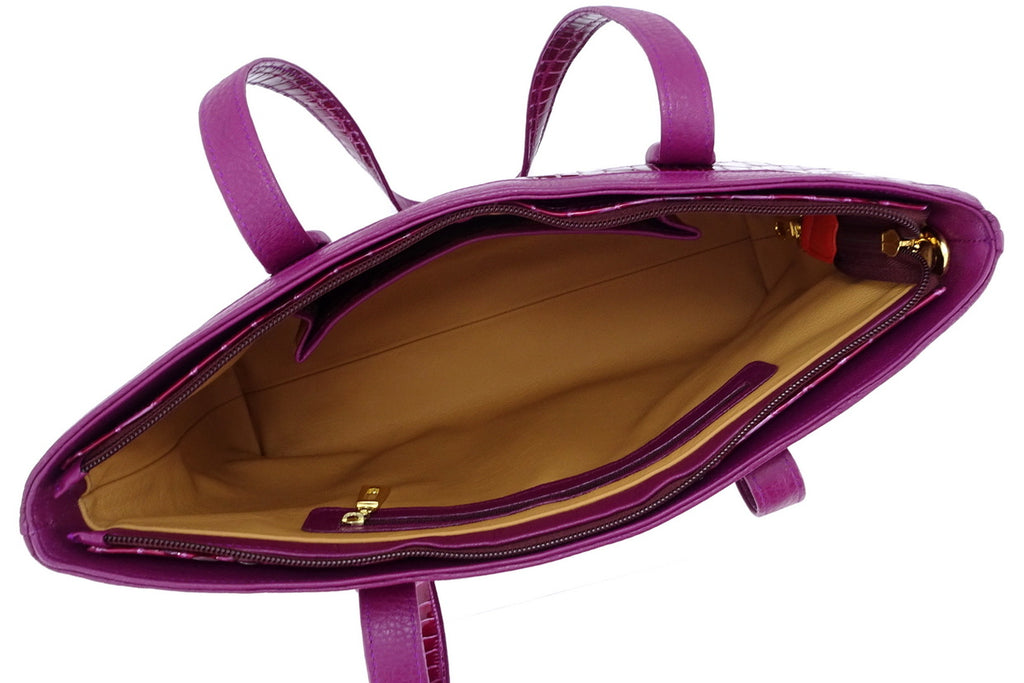 Emily  Medium leather tote bag purple & cherry gold fittings inside pockets