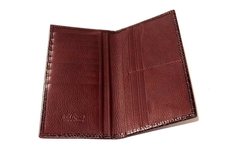 Inside view of suit wallet made in full leather cards on left side and zip section right side