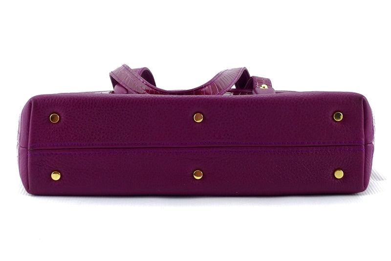 Emily  Medium leather tote bag purple & cherry gold fittings bottom feet
