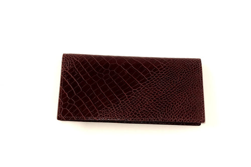 Aiden  Men's long suite wallet full Burgundy printed leather