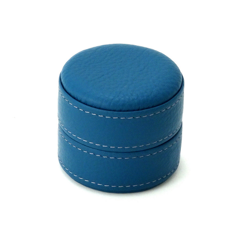 Ring Box round  Azure blue leather lid on box closed