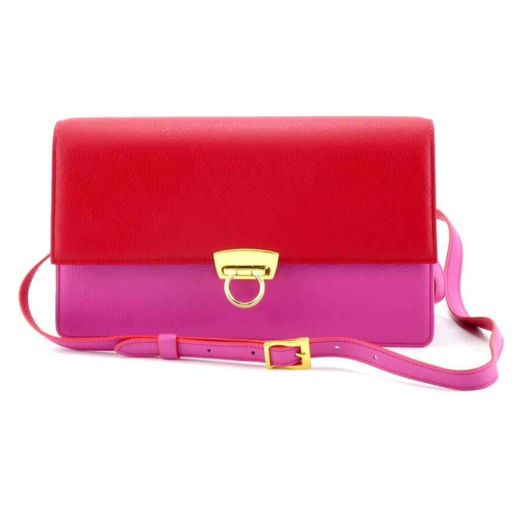 Tanya  Red and fuchsia leather ladies handbag