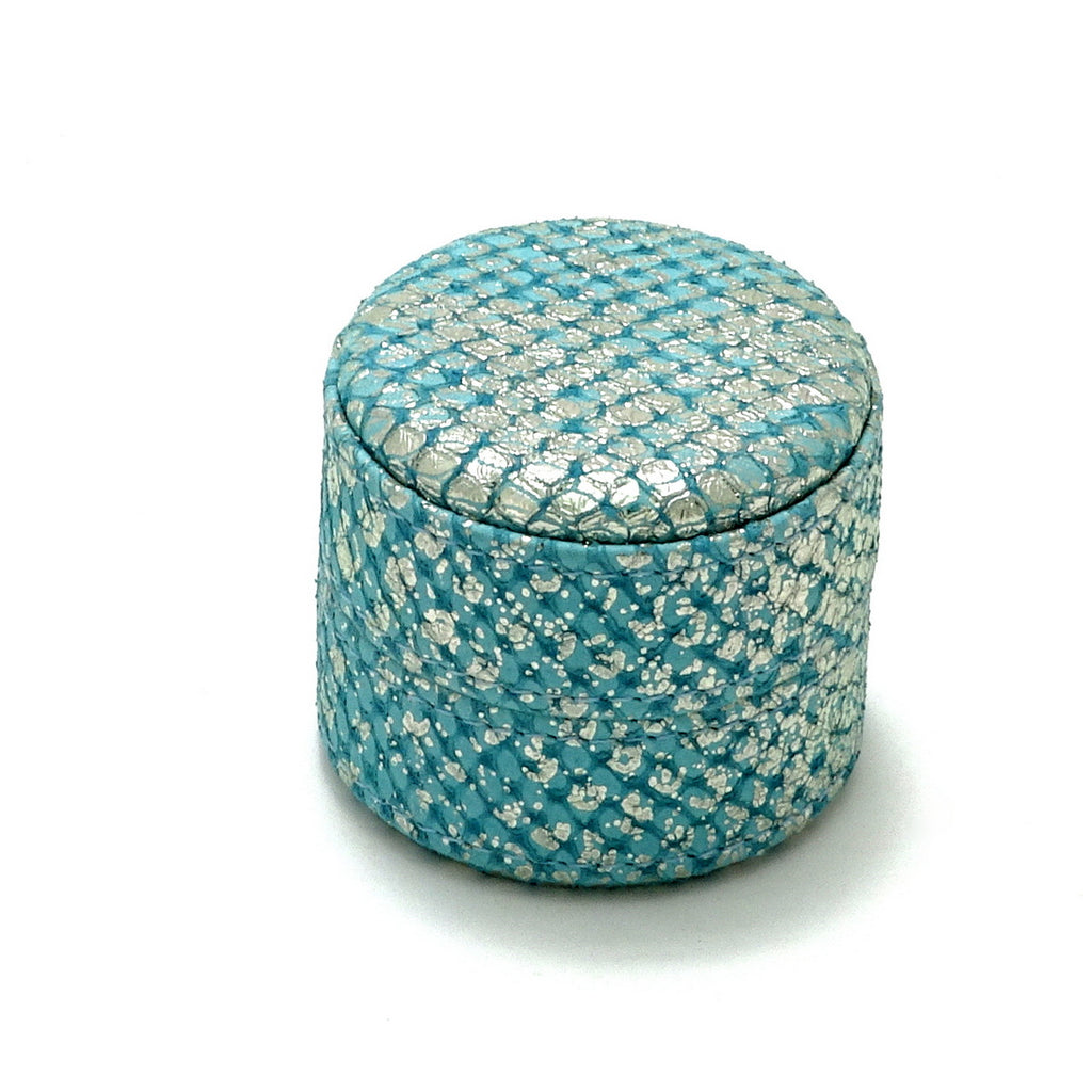 Ring Box round  Mermain blue metallic textured leather lid on box closed