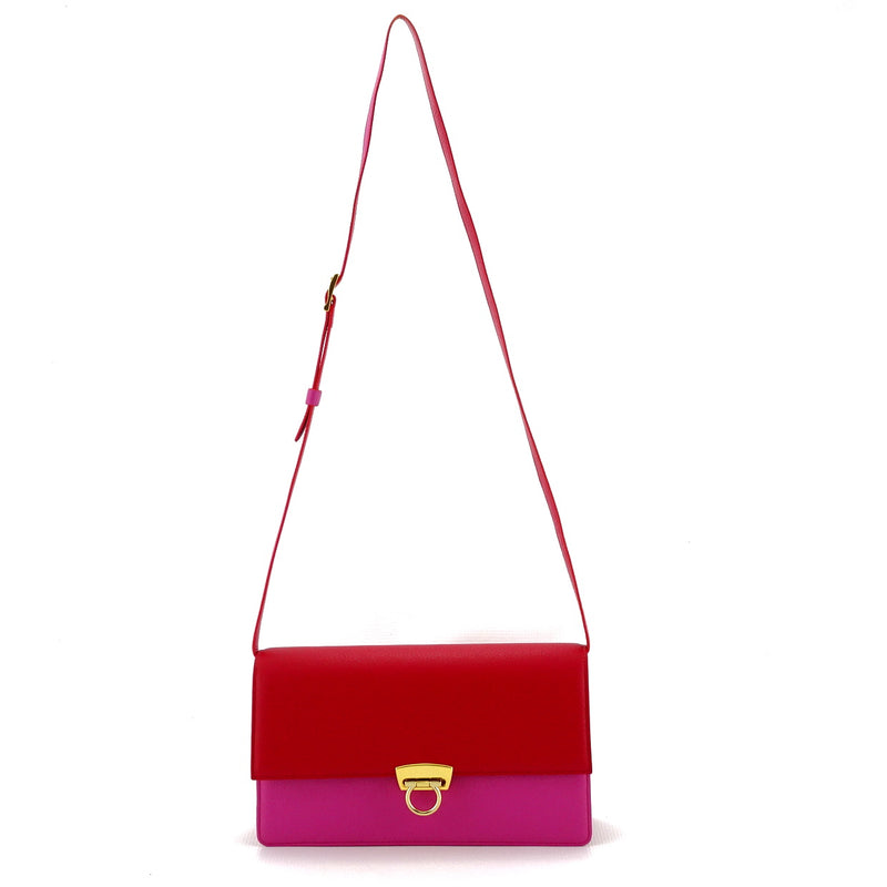 Tanya  Red and fuchsia leather ladies handbag shoulder straps length