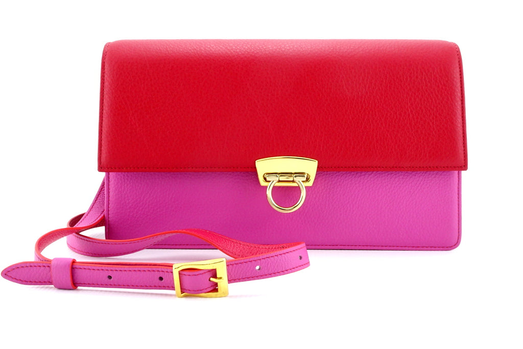 Tanya  Red and fuchsia leather ladies handbag front view