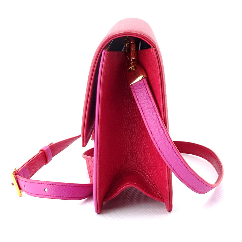 Tanya  Red and fuchsia leather ladies handbag side gusset