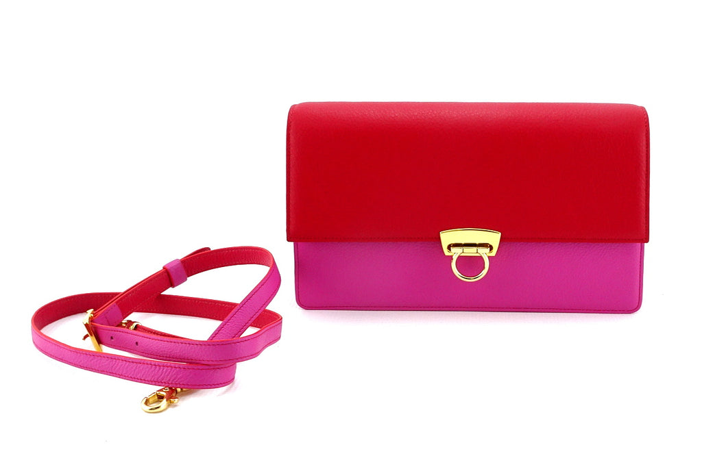Tanya  Red and fuchsia leather ladies handbag shoulder strap detached