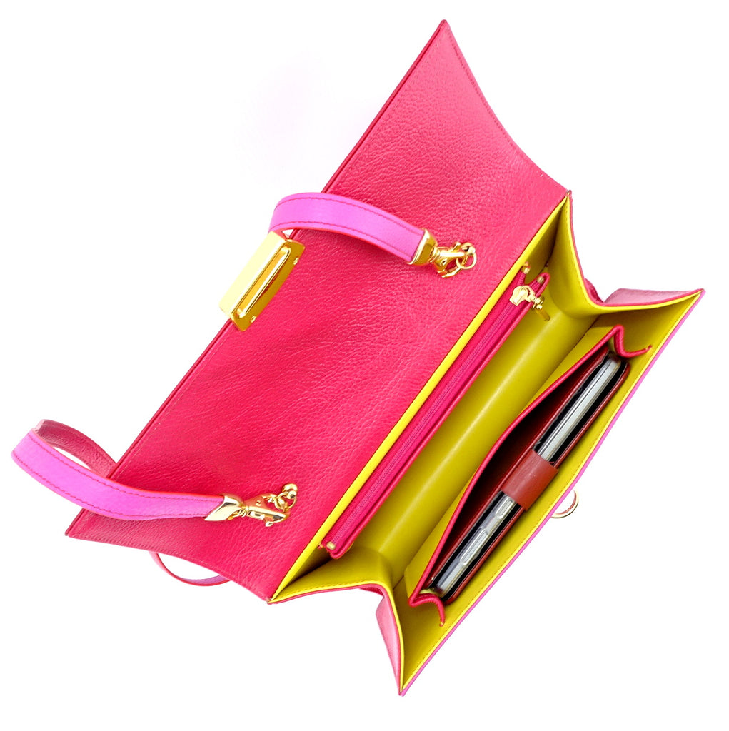 Tanya  Red and fuchsia leather ladies handbag inside pockets holds smart phone in case