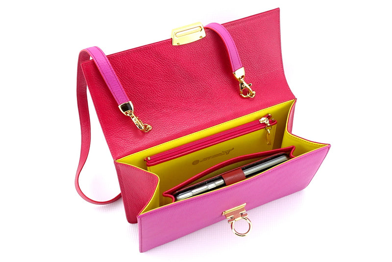 Tanya  Red and fuchsia leather ladies handbag inside zip pocket