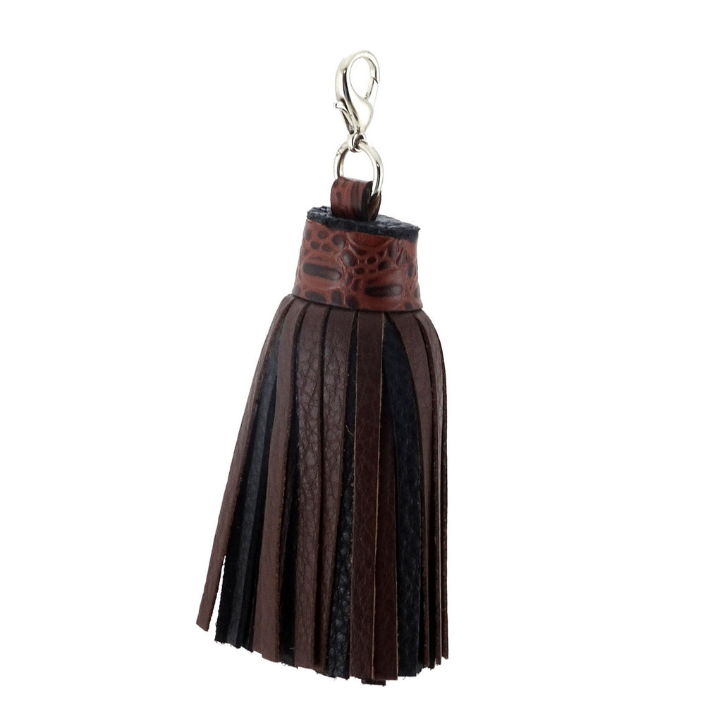 Tassels leather black and brown crocodile print