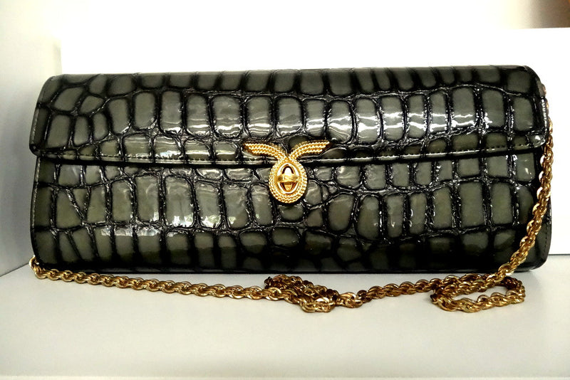 Kate  Grey foil coated leather ladies clutch bag front with chain