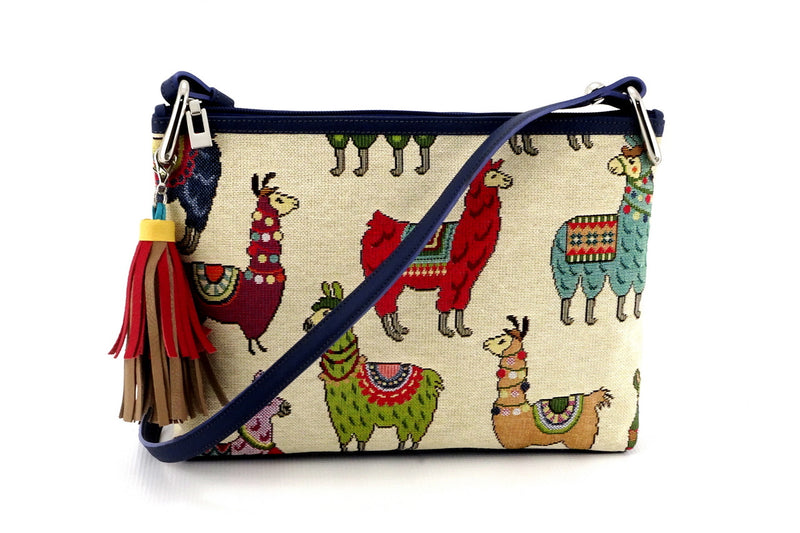 Rosie Llama printed fabric leather lined small tote bag front view