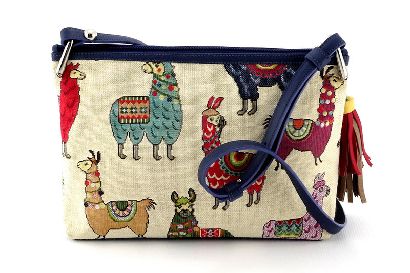 Rosie Llama printed fabric leather lined small tote bag back view