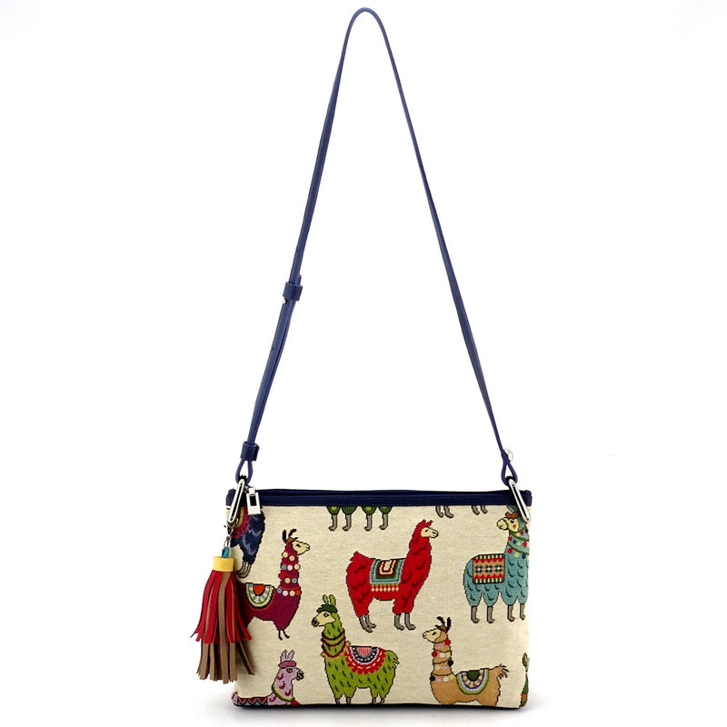 Rosie Llama printed fabric leather lined small tote bag shoulder straps extended showing drop