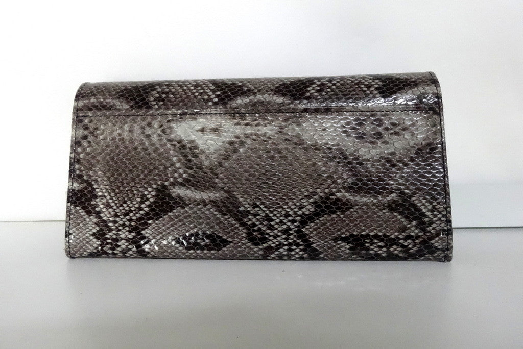 Caitlin  Grey snake print leather Persian blue internal ladies purse back pocket view