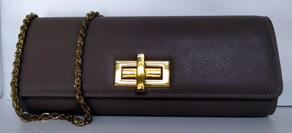 Meredith  Grape leather oversized clasp ladies clutch bag front with chain