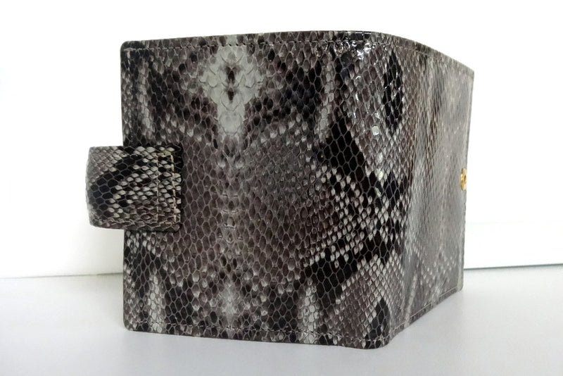Christine  Grey snake print leather small ladies purse wallet back view