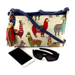 Rosie Llama printed fabric leather lined small tote bag