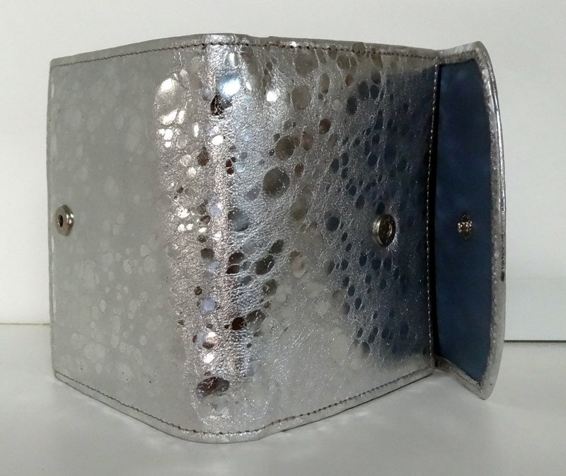 Anne  Silver sheep skin leather with blue internal ladies purse