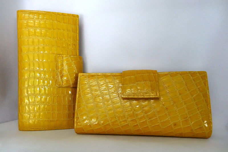 Yellow foil leather large ladies clutch purse front and back