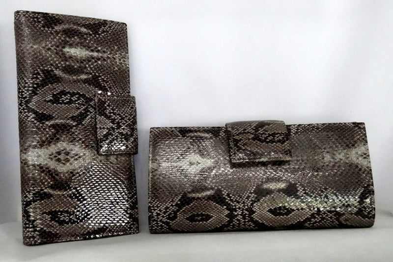 Grey snake print leather nutmeg inside large ladies purse