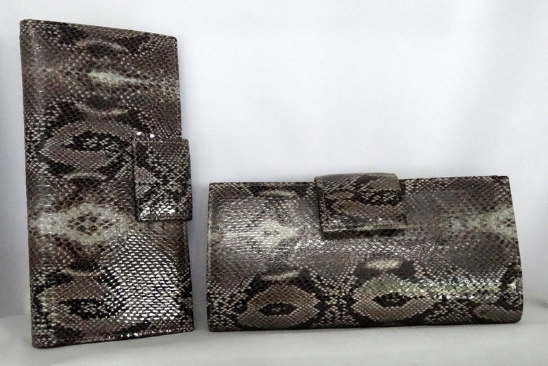Grey snake print leather large ladies purse