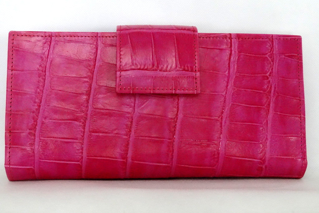 Pink crocodile print leather large ladies purse back