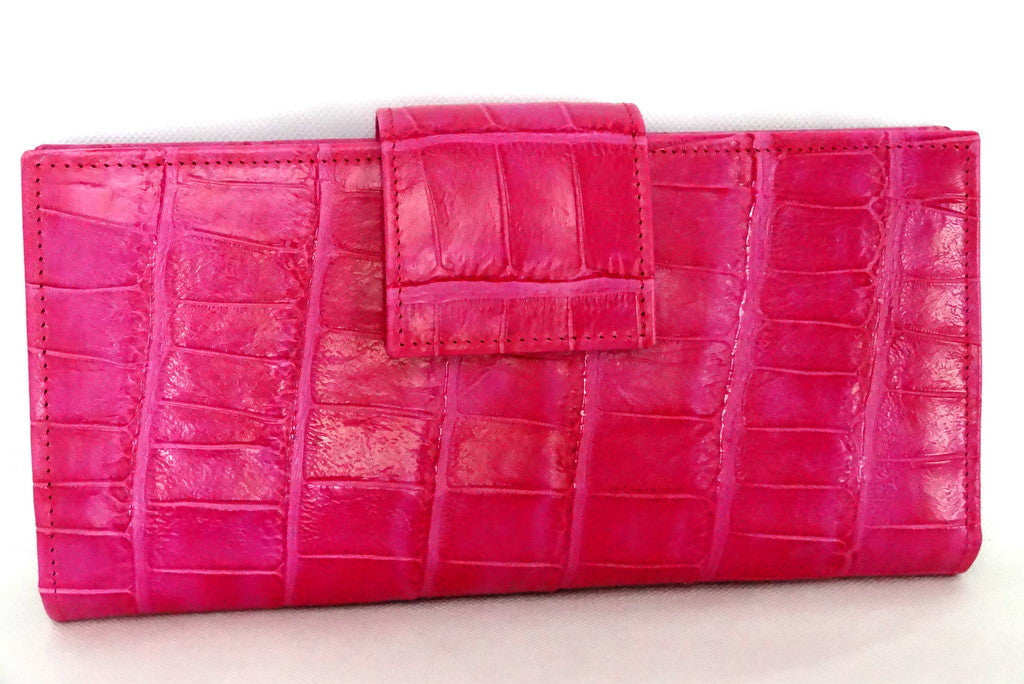 Pink crocodile print leather large ladies purse front tab