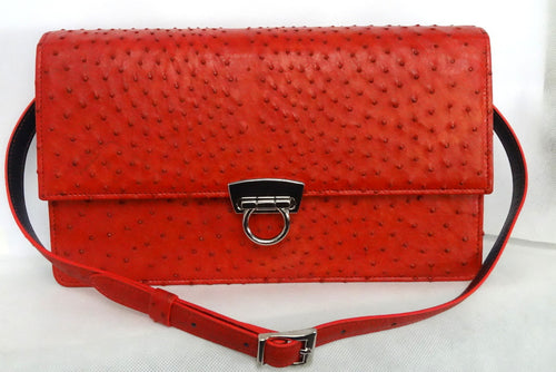 Red  Ostrich & blue Emu leather ladies handbag front