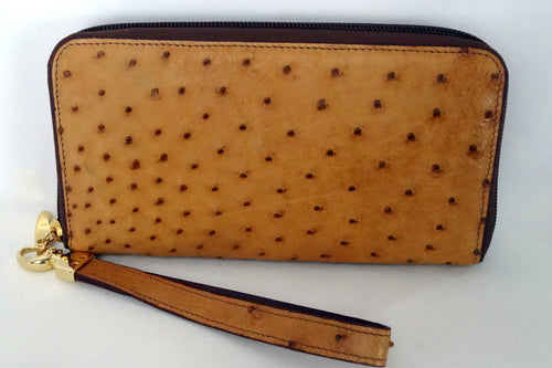 Light tan ostrich skin leather ladies zip around purse side 2