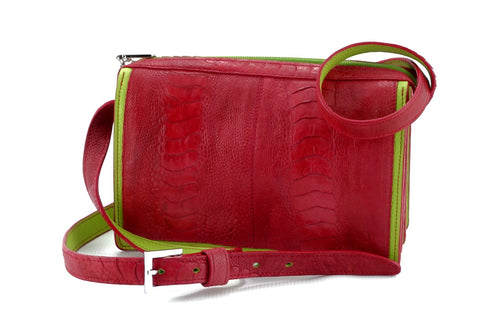 Riley Cross body bag Red ostrich leg with lime leather