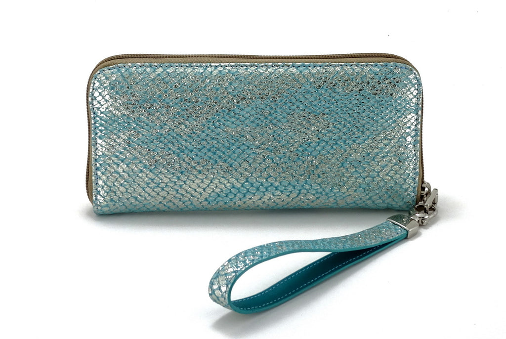 Michaela  Blue & silver textured leather zip around purse front view