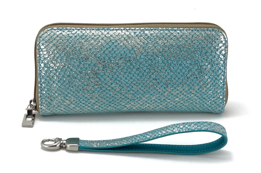 Michaela  Blue & silver textured leather zip around purse back view