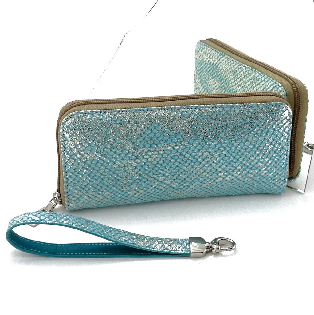 Michaela  Blue & silver textured leather zip around purse mirror view showing both sides