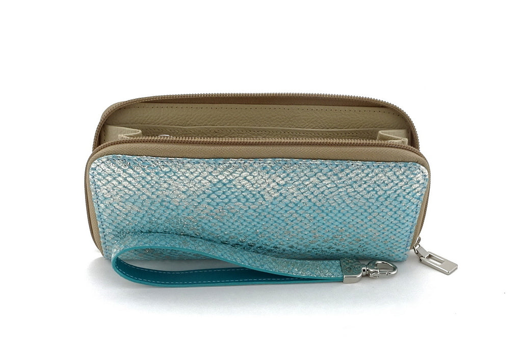 Michaela  Blue & silver textured leather zip around purse side view zip open