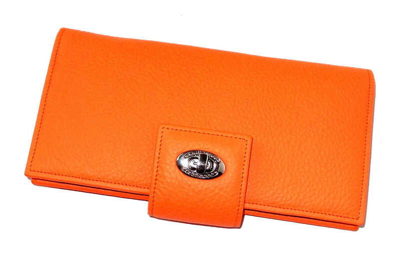 Molly  Pale Orange textured leather ladies clutch purse