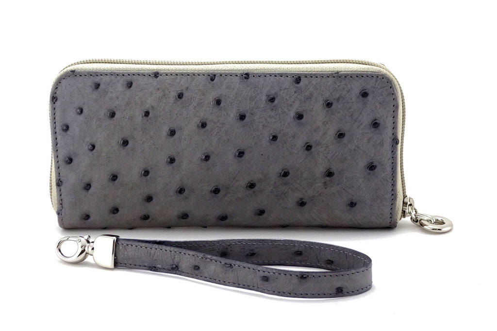 Michaela  Grey ostrich leather ladies zip around purse side 1 view