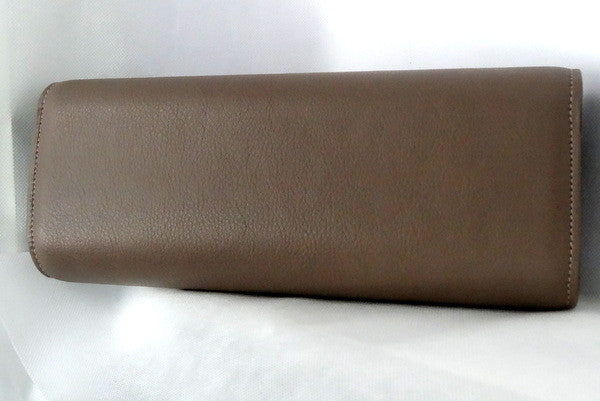 Meredith  Grape leather oversized clasp ladies clutch bag back