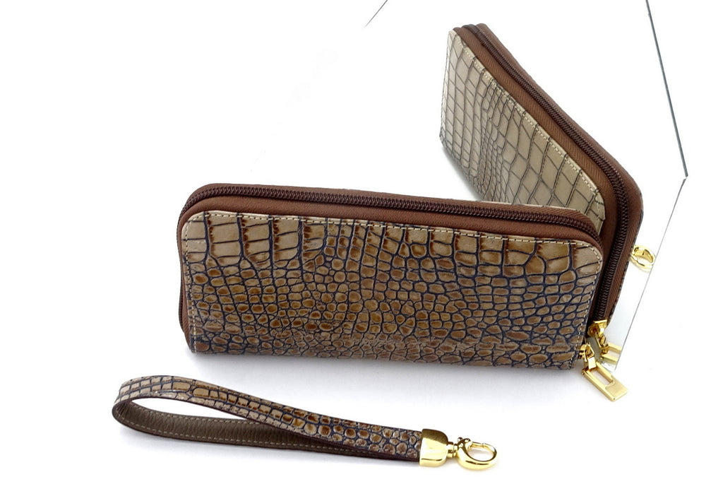 Michaela  Cream & grey crocodile print leather zip around purse mirror view showing both sides