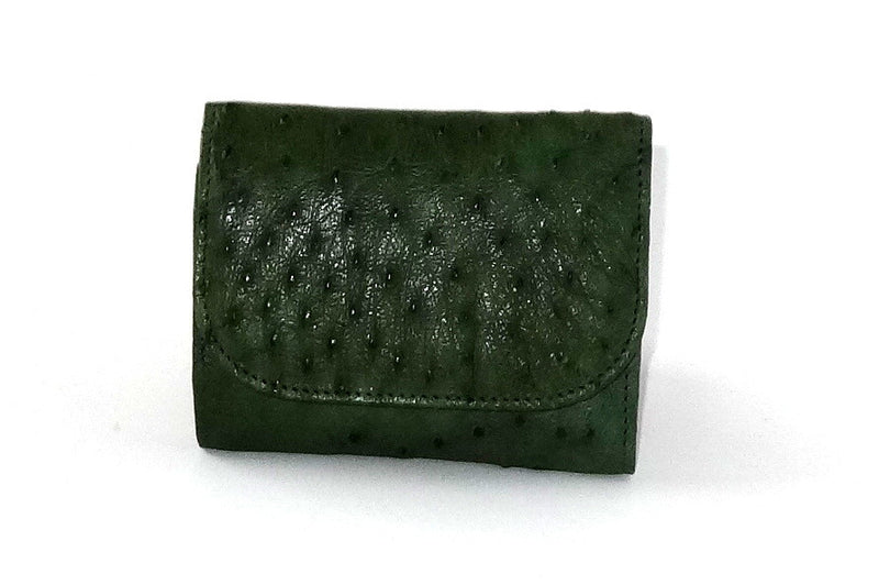 Dorothy  Trifold purse - Green ostrich skin leather ladies wallet