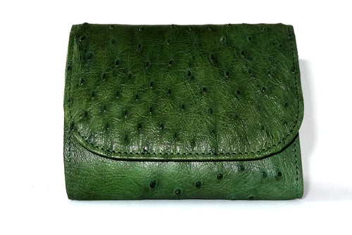 Dorothy  Trifold purse - Green ostrich skin leather ladies wallet front view