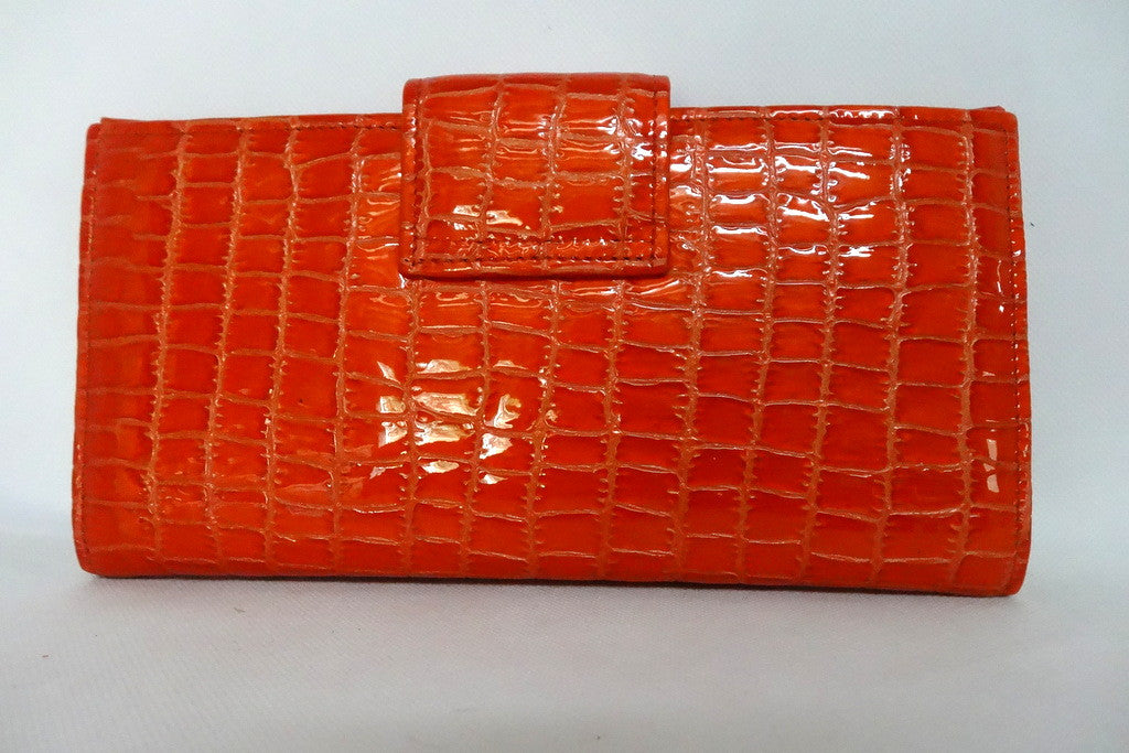 Orange foil leather blue internal large ladies purse baack