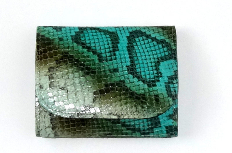 Dorothy  Trifold purse - Olive blue snake print leather ladies wallet front view