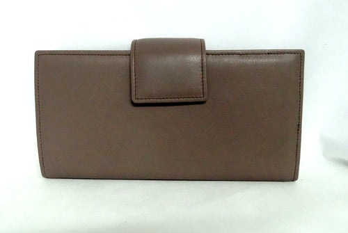 Dark taupe leather large ladies purse front tab