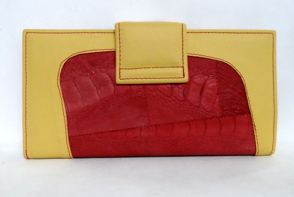 Lemon leather rojo ostrich leg large ladies purse back