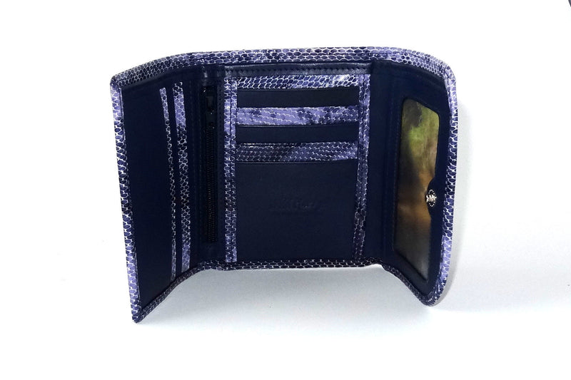 Dorothy  Trifold purse - Purple snake print leather ladies wallet inside picture window